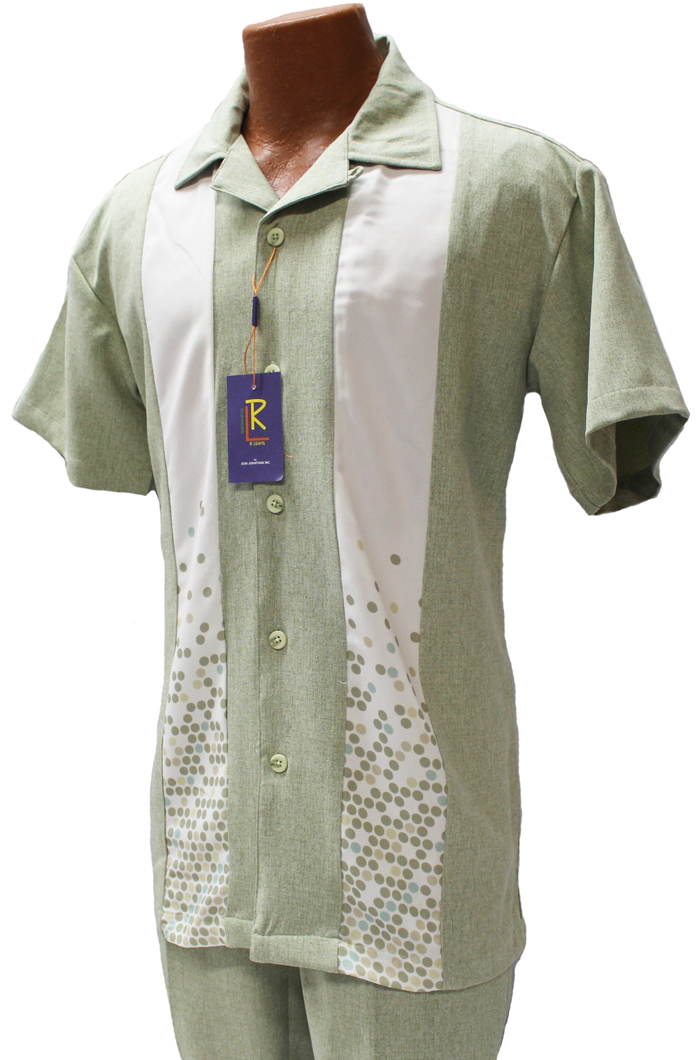 R. Lewis Green Short Sleeve Shirt and Pants Sport Set