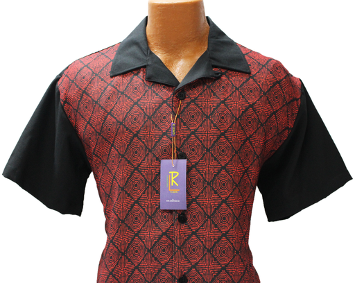 R. Lewis Black Geometric Short Sleeve Shirt and Pants Sport Set