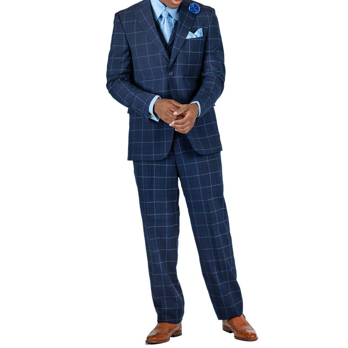 Stacy Adams Party Navy Blue Modern Fit Vested Suit