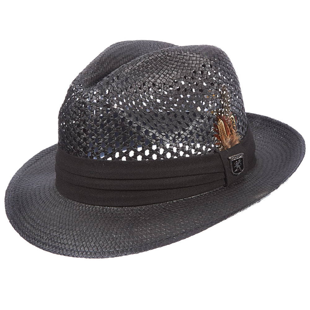 Stacy Adams Black Pinch Front Vented Toyo Fedora Hat