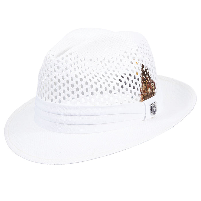 Stacy Adams White Pinch Front Vented Toyo Fedora Hat
