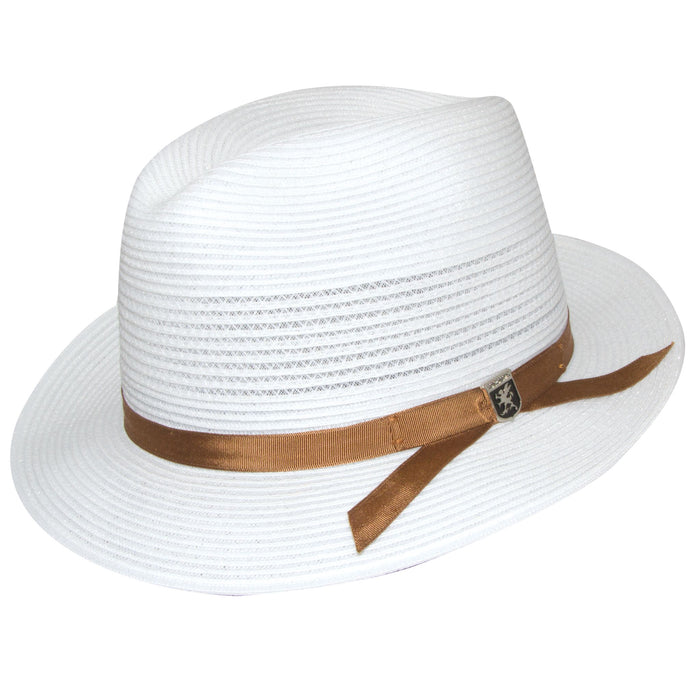 Stacy Adams White Vented Poly Braid Fedora Hat