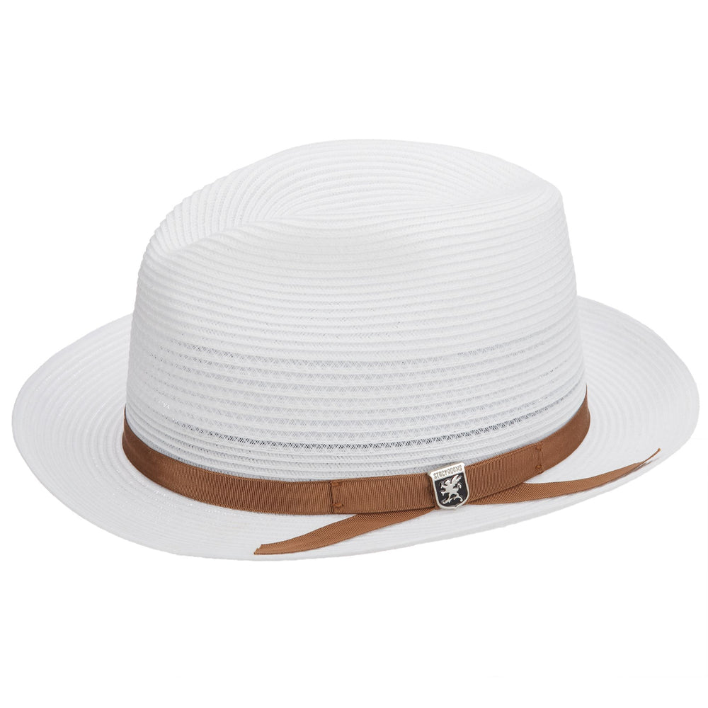 White Vented Poly Braid Fedora Hat