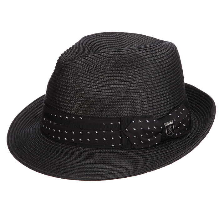 Stacy Adams 647 Black Poly Braid Pinch Front Fedora Hat