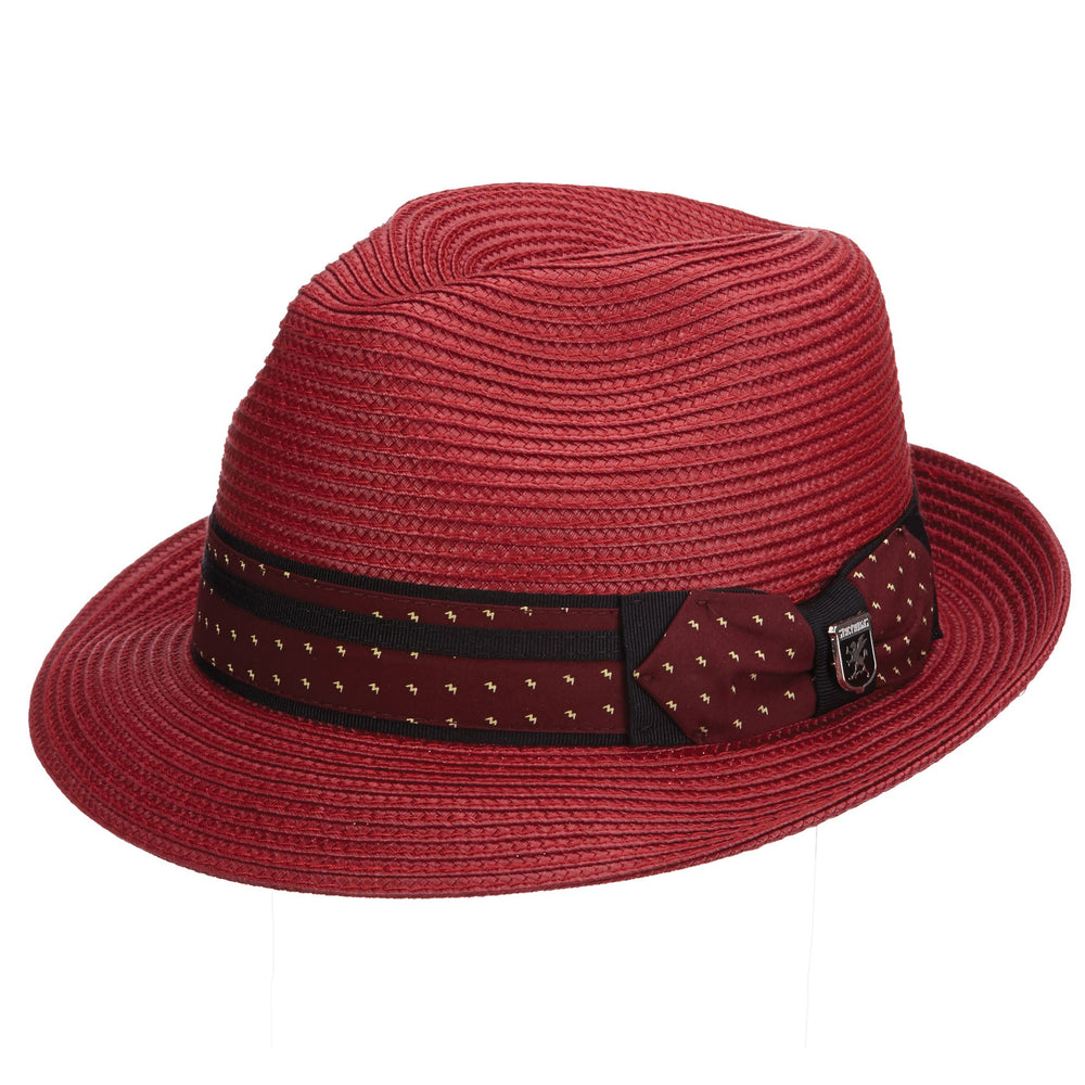 Stacy Adams Wine Poly Braid Pinch Front Fedora Hat