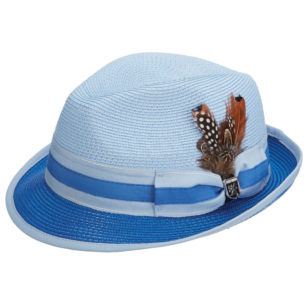 Gordonville Blue Poly Braid Fedora Hat