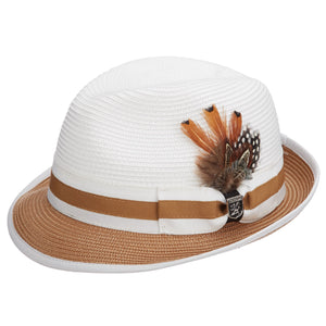 Stacy Adams Gordonville Tan Poly Braid Fedora Hat