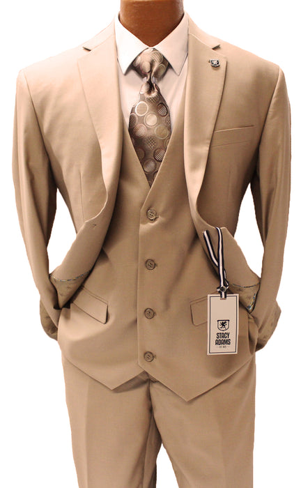 Stacy Adams Bud Tan Vested Modern Fit Suit