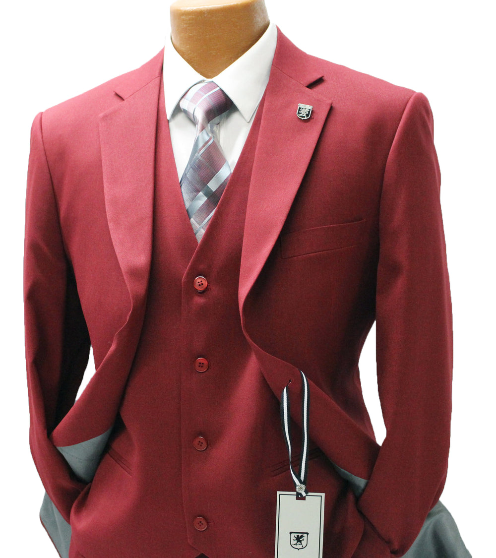 Suny Burgundy Red Vested Classic Fit Suit