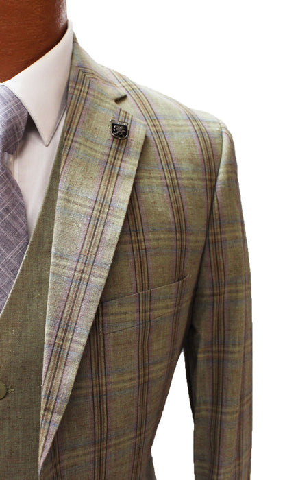 Stacy Adams County Trio Sage Windowpane Vested Modern Fit Suit