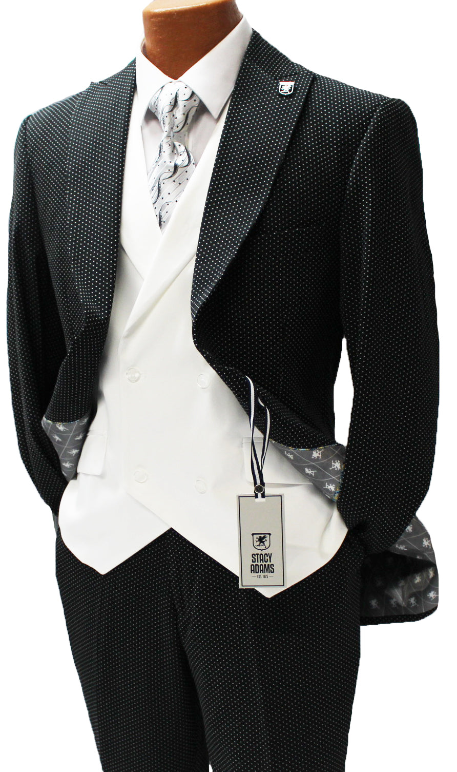 Ken Black and White Polka Dot Vested Classic Fit Suit