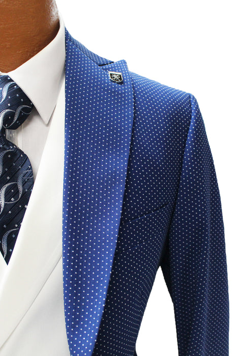 Stacy Adams Ken Blue and White Polka Dot Vested Classic Fit Suit