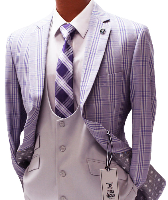 Stacy Adams Purple Windowpane Vested Classic Fit Suit