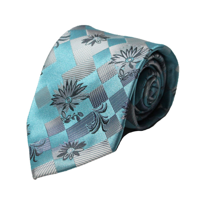 Stacy Adams Teal Floral Tie and Handkerchief