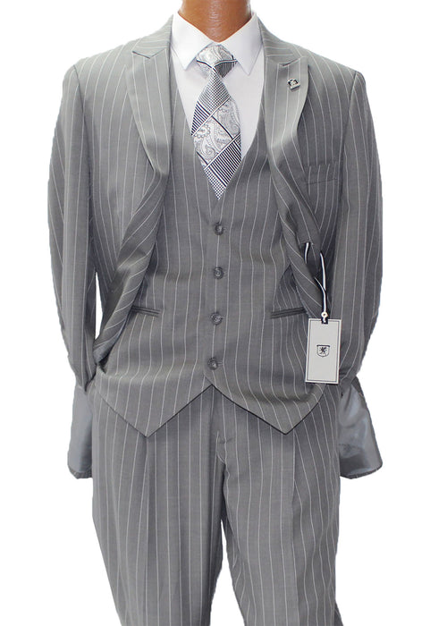 Stacy Adams Mars Gray w White Pinstripe Vested Classic Fit Suit