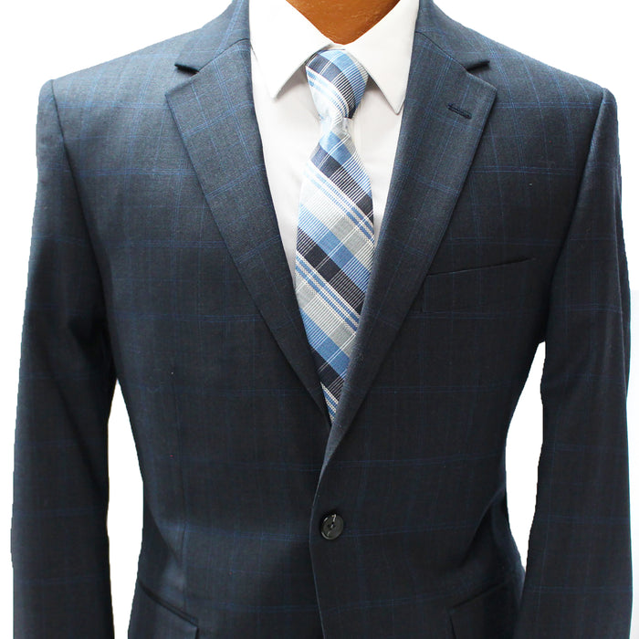 TopLapel Blue Windowpane Modern Fit Suit