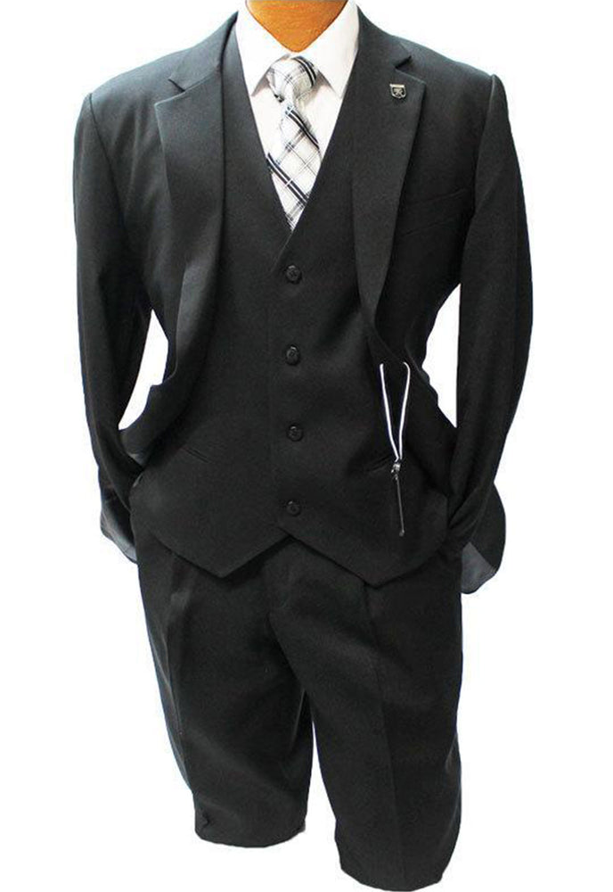 Stacy Adams Suny Jet Black Vested Classic Fit Suit