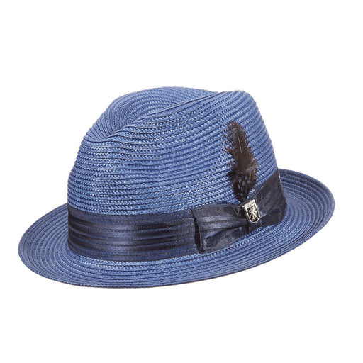 Stacy Adams Kingston Navy Poly Braid Fedora Hat