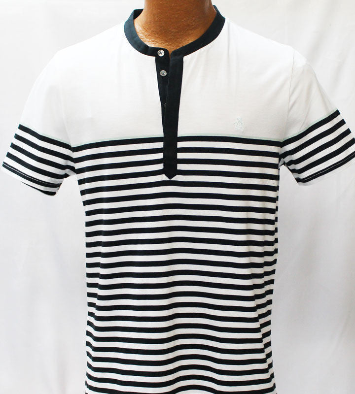 Original Penguin Bright White And Black Stripe Slim Fit Shirt