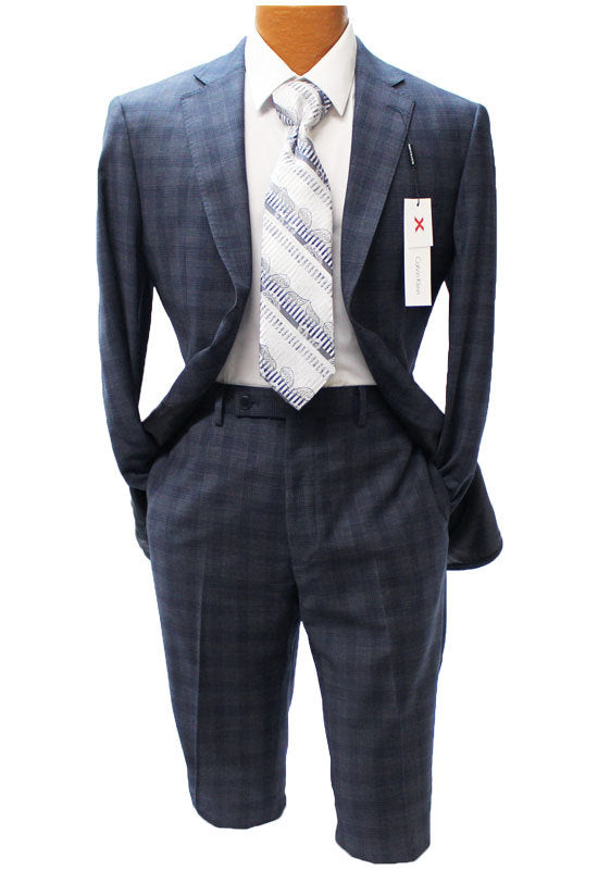 Calvin Klein Navy Blue Check X-Slim Fit Suit
