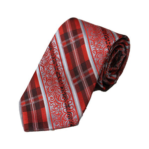 Stacy Adams Red Patterned Tie and Handkerchief