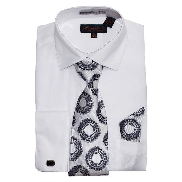 Bruno Conte 1069 White Regular Fit Dress Shirt Combo