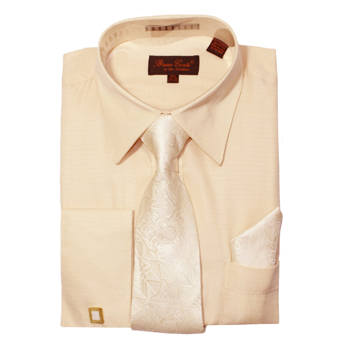 Bruno Conte 052 Ivory Regular Fit Dress Shirt Combo