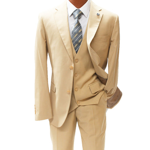 Stacy Adams Bud Beige Vested Modern Fit Suit