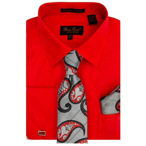 Bruno Conte 1082 Fire Red Regular Fit Dress Shirt Combo