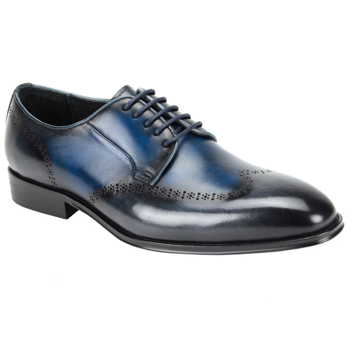 Giovanni Ivan Blue Grey Multi Wingtip Brogue Dress Shoe