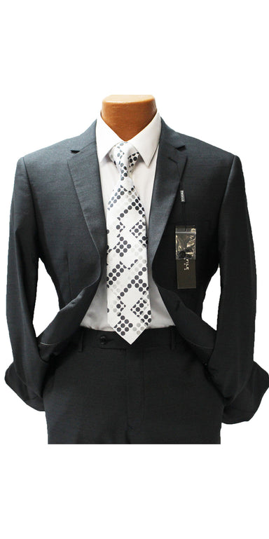 Profile Charcoal Textured Slim Fit Suit