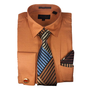 Bruno Conte Cognac Regular Fit Dress Shirt Combo