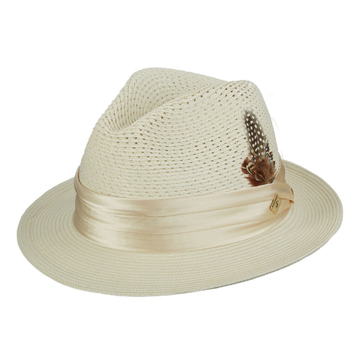 Stacy Adams Dublin Beige Poly Braid Fedora Hat