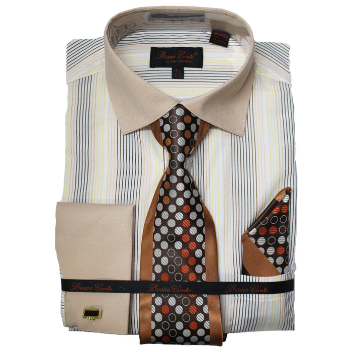 Bruno Conte Tan Pinstripe Regular Fit Dress Shirt Combo