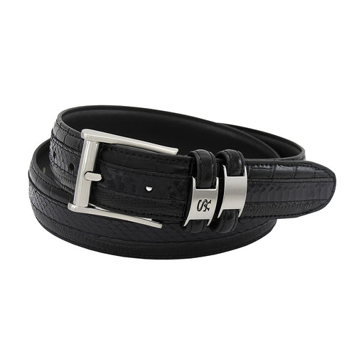 Stacy Adams Maes Black Genuine Snakeskin Emboss Belt