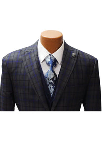 Stacy Adams Party Grey Vested Classic Fit Suit