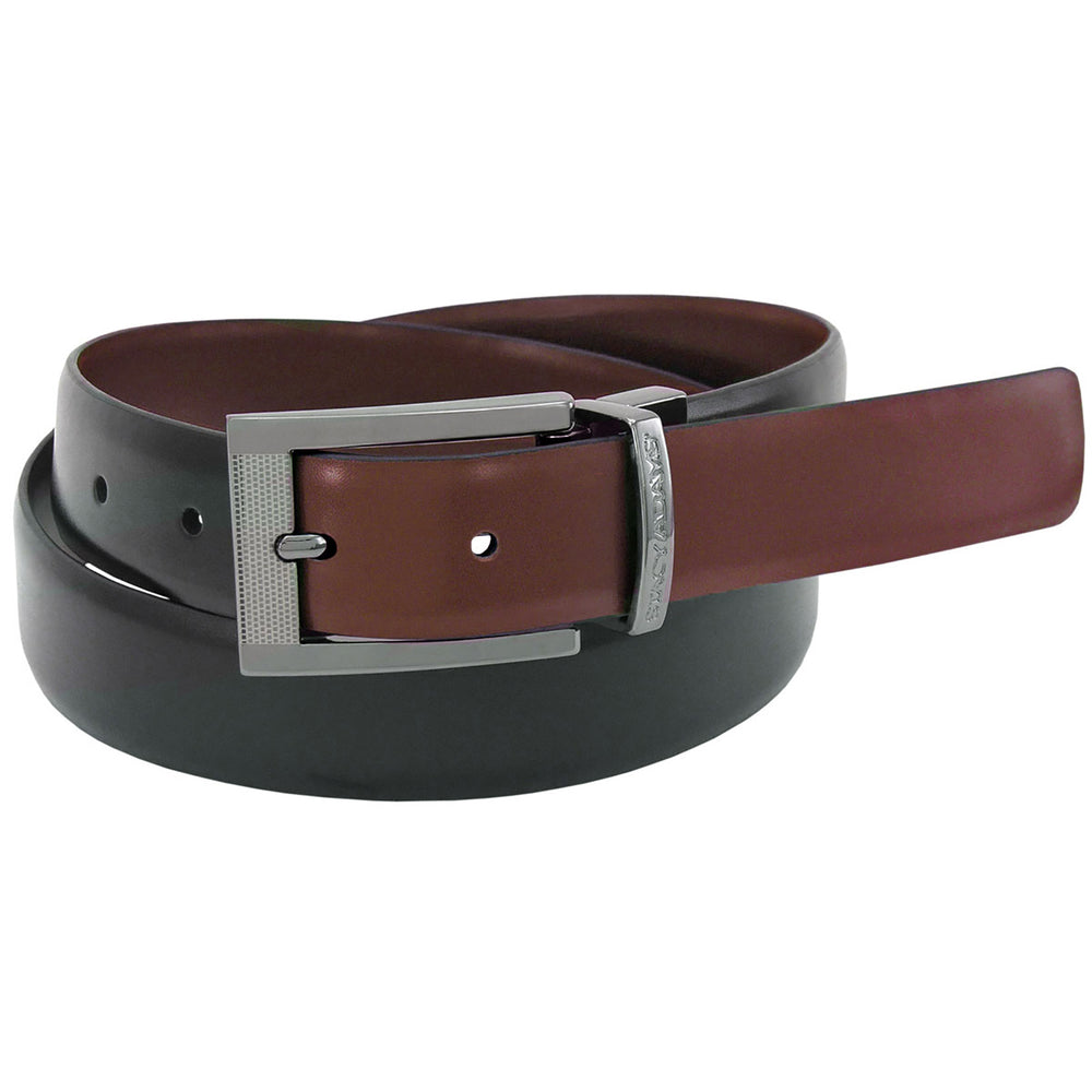 Stacy Adams Jasen Black and Brown Engraved Buckle Reversible Belt