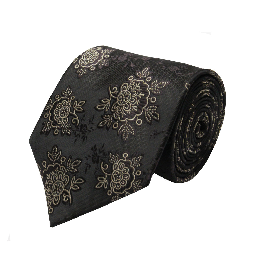 Gianfranco Floral Brown Tie and Handkerchief