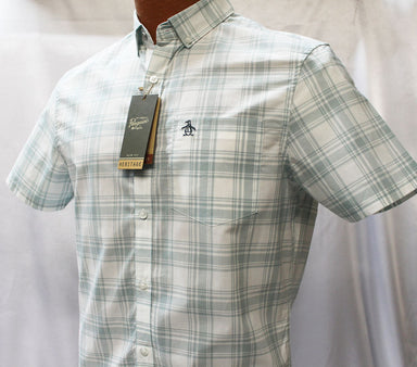 Original Penguin Cloud Blue Plaid Slim Fit Shirt