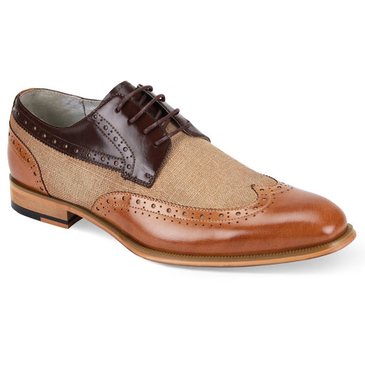 Giovanni Hunter Chocolate Brown and Tan Wingtip Oxford