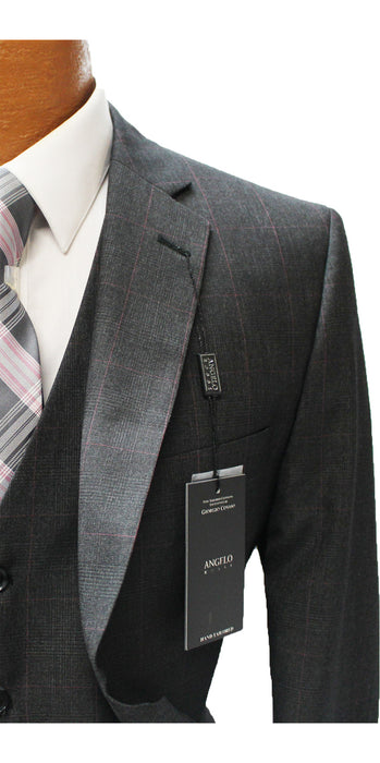 Angelo Rossi Charcoal Windowpane Vested Modern Fit Suit