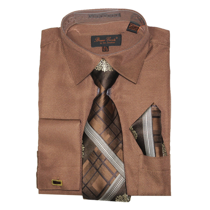 Bruno Conte 1075 Brown Regular Fit Dress Shirt Combo