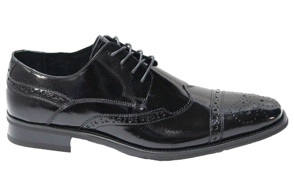 Giovanni Black Cap Toe Wingtip Oxford