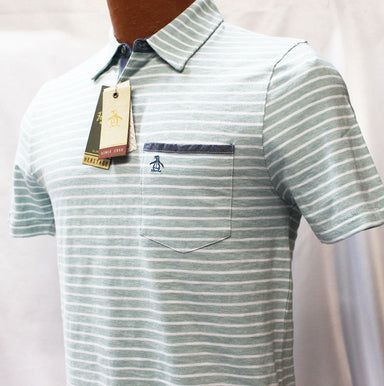 Original Penguin Cloud Blue And White Slim Fit Polo