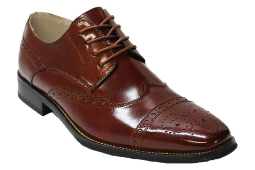 Giovanni Cognac Cap Toe Wingtip Oxford