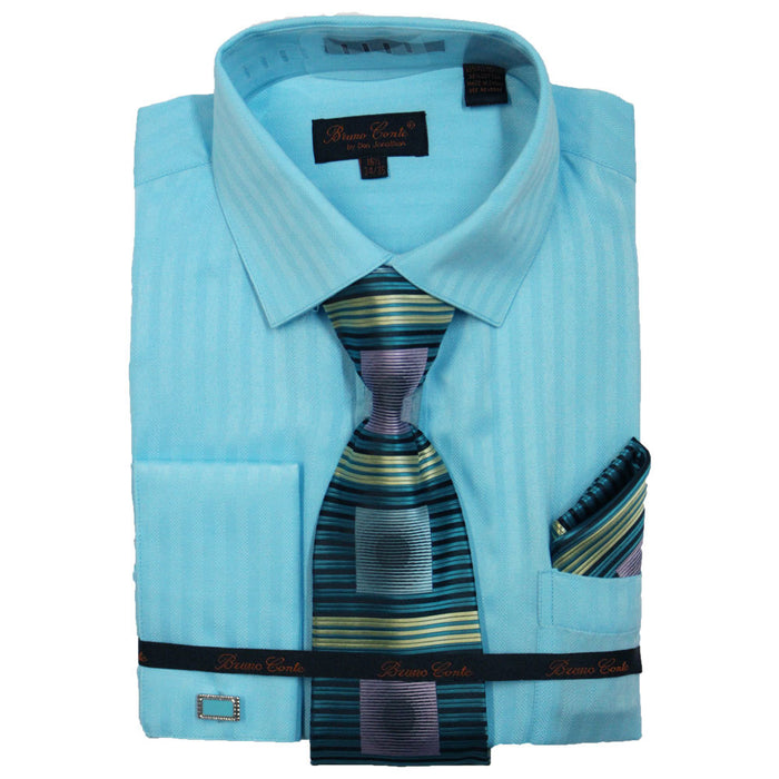 Bruno Conte Turquoise Pinstripe Regular Fit Dress Shirt Combo