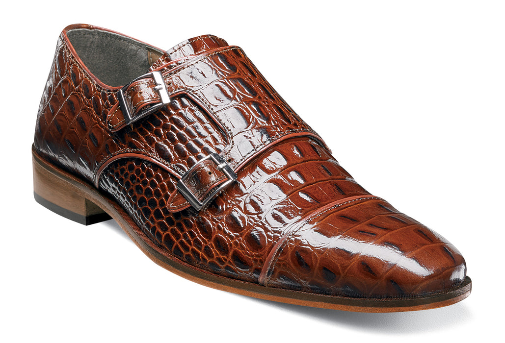 Stacy Adams Golato Cognac Cap Toe Monk Strap