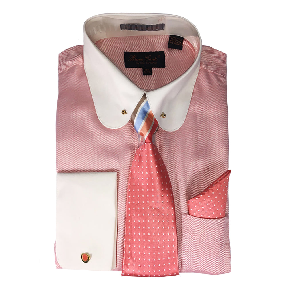 Bruno Conte Coral Two Tone Regular Fit Dress Shirt Combo
