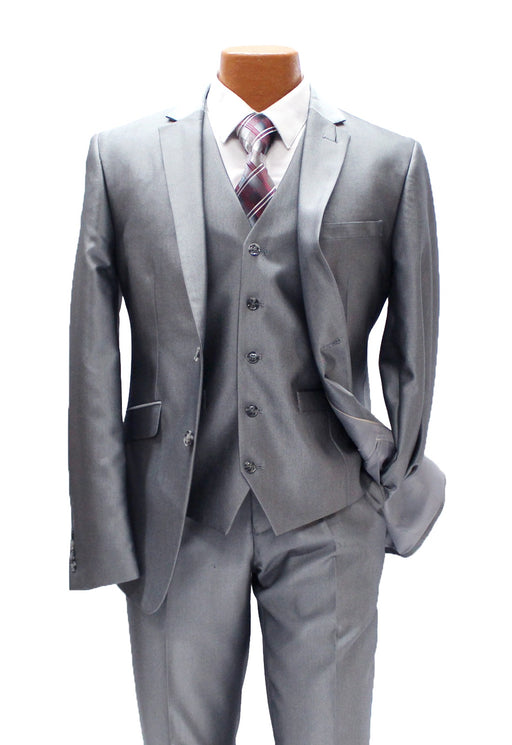 Profile Grey Sharkskin Vested Slim Fit Suit