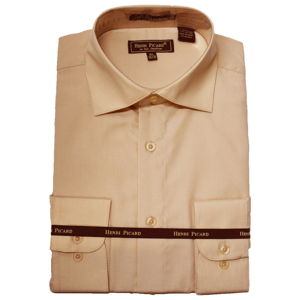 Henri Picard Tan Regular Fit Dress Shirt